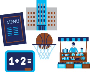 Illustration of building, storefront, restaurant menu, and other environmental health factors